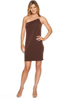 One Shoulder Dress with Trim