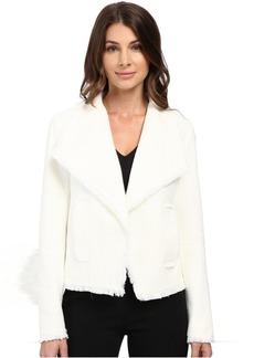 MICHAEL Michael Kors Open Front Fray Tweed Jacket