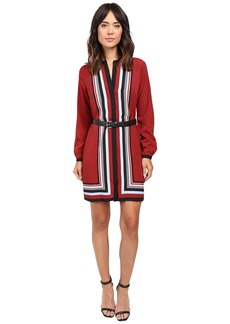 MICHAEL Michael Kors Optic Scarf Long Sleeve Dress