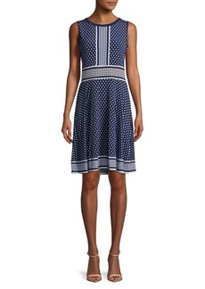 MICHAEL Michael Kors Dot-Border Fit-&-Flare Dress