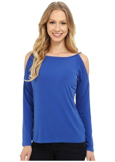 MICHAEL Michael Kors Oval Link Cold Shoulder Top