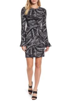 MICHAEL Michael Kors Palm Print Bell Sleeve Dress