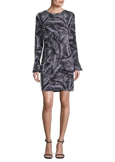MICHAEL Michael Kors Palm-Print Bell-Sleeve Sheath Dress