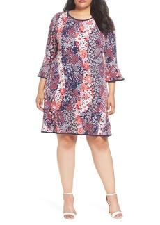 MICHAEL Michael Kors Patchwork Floral Bell Sleeve Shift Dress (Plus Size)
