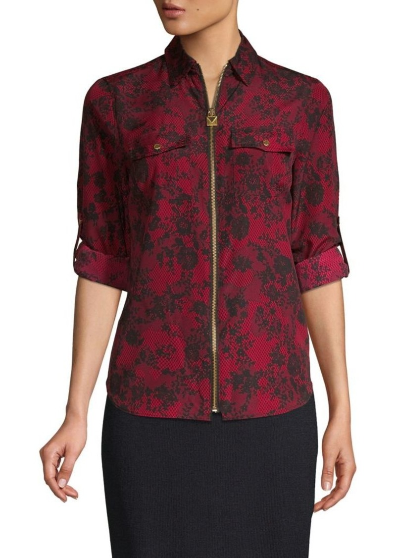 MICHAEL Michael Kors Patterned Zip Top