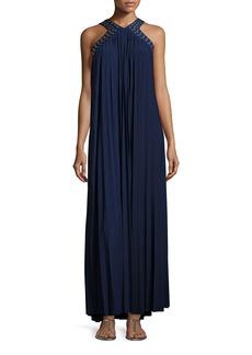 MICHAEL Michael Kors Perma-Pleated Embellished Maxi Dress