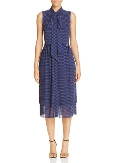 MICHAEL Michael Kors Pin Dot Tie Neck Shirt Dress