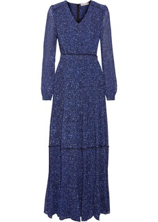 MICHAEL Michael Kors Pintucked printed chiffon maxi dress