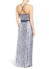 MICHAEL Michael Kors Plains Zebra Pleated Chiffon Maxi Dress