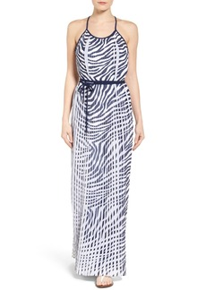 MICHAEL Michael Kors Plains Zebra Pleated Chiffon Maxi Dress