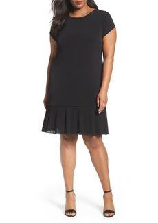 MICHAEL Michael Kors Pleat Chiffon Hem Jersey Dress (Plus Size)