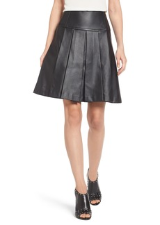 MICHAEL Michael Kors Pleat Faux Leather Skirt