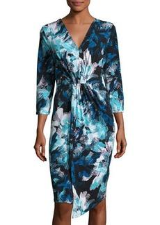MICHAEL Michael Kors Pleat-Front 3/4-Sleeve Dress