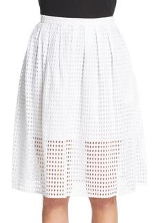 MICHAEL MICHAEL KORS Pleated Cotton Eyelet Skirt