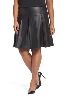 MICHAEL Michael Kors Pleated Faux Leather Skirt (Plus Size)