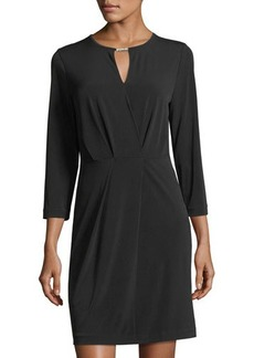 MICHAEL Michael Kors Pleated-Front 3/4-Sleeve Dress