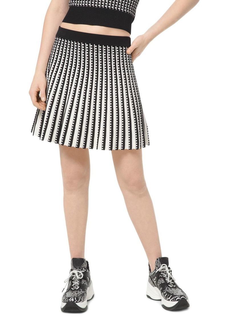 MICHAEL Michael Kors Pleated Geo-Pattern A-Line Skirt