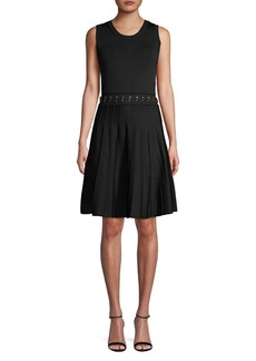 MICHAEL Michael Kors Pleated Grommet-Trim A-Line Dress