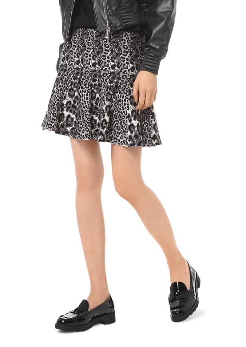 MICHAEL Michael Kors Pleated Leopard Jacquard Mini Skirt