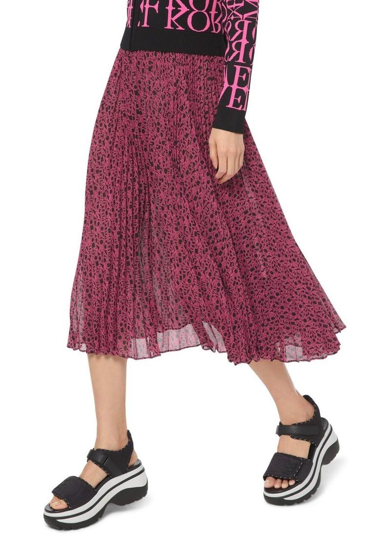 MICHAEL Michael Kors Pleated Logo-Print Georgette Midi Skirt