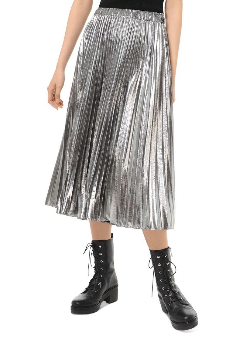 MICHAEL Michael Kors Pleated Metallic Midi Skirt