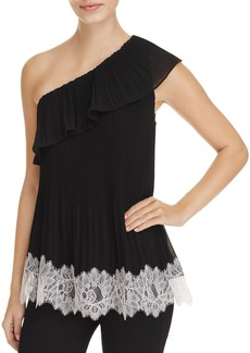 MICHAEL Michael Kors Pleated One Shoulder Ruffle Top - 100% Exclusive
