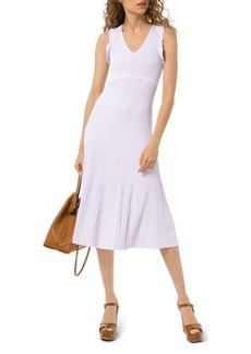 MICHAEL Michael Kors Pleated Ruffle Trim Dress