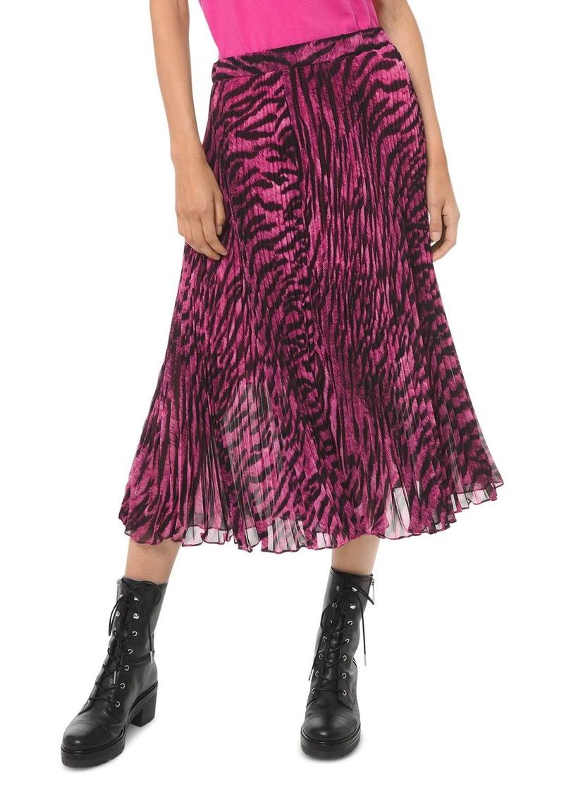 MICHAEL Michael Kors Pleated Tiger-Print Georgette Skirt