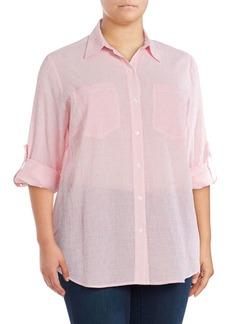 MICHAEL Michael Kors Plus Button-Front Pinstriped Blouse
