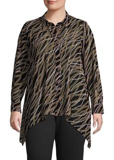 MICHAEL Michael Kors Plus Chain-Print Handkerchief Blouse