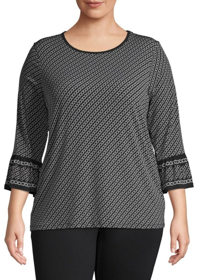 MICHAEL Michael Kors Plus Chain-Print Quarter-Sleeve Top