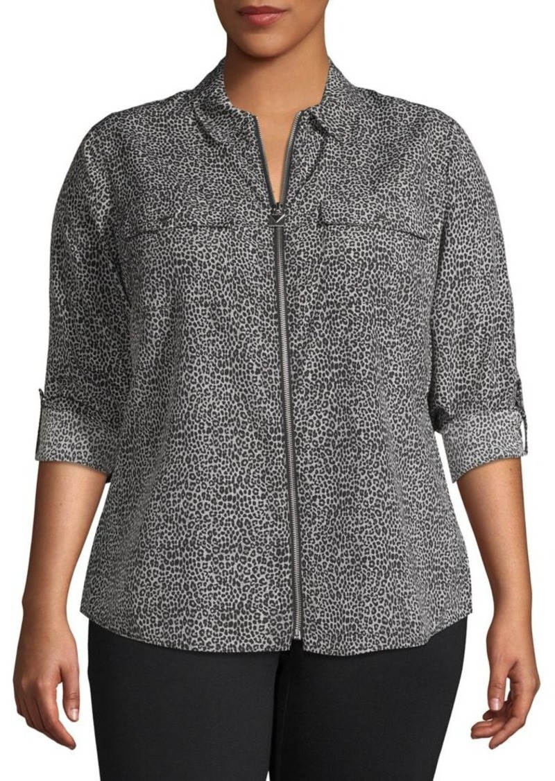 MICHAEL Michael Kors Plus Cheetah-Print Full-Zip Shirt