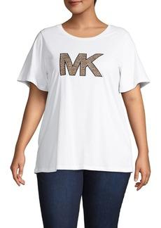 MICHAEL Michael Kors Plus Cheetah-Print Logo Tee