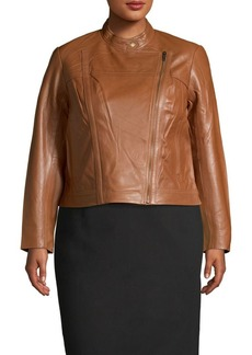 MICHAEL Michael Kors Plus Cropped Leather Moto Jacket