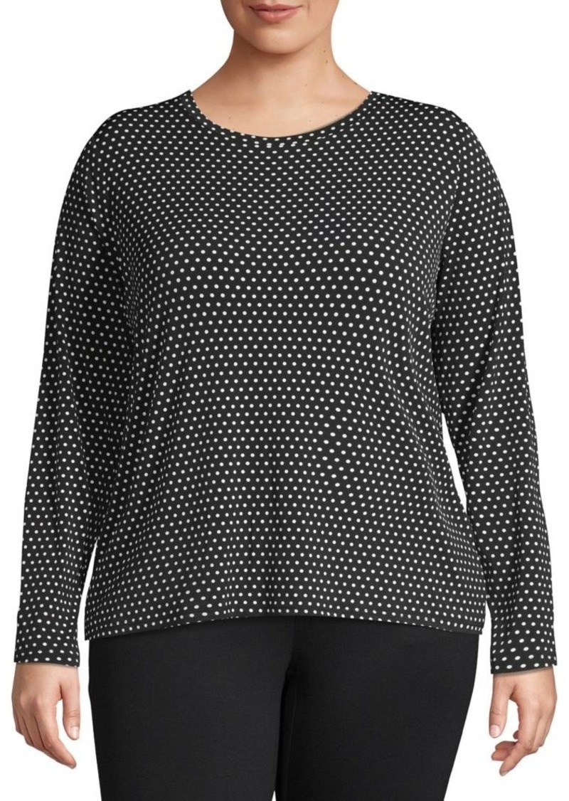 MICHAEL Michael Kors Plus Dot-Print Long-Sleeve Top