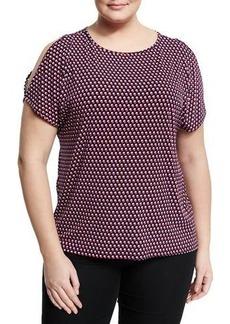 MICHAEL Michael Kors Plus Dot-Print Split-Sleeve Top