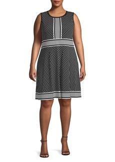 MICHAEL Michael Kors Plus Dotted Fit-&-Flare Dress
