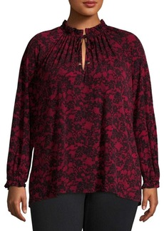 MICHAEL Michael Kors Plus Floral Lace Shirred Top