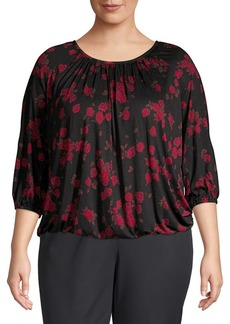 MICHAEL Michael Kors Plus Floral Three-Quarter Top