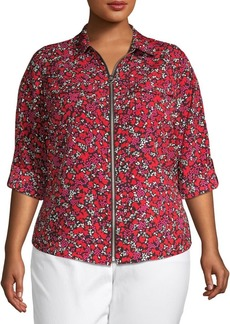 MICHAEL Michael Kors Plus Floral Zip-Front Top