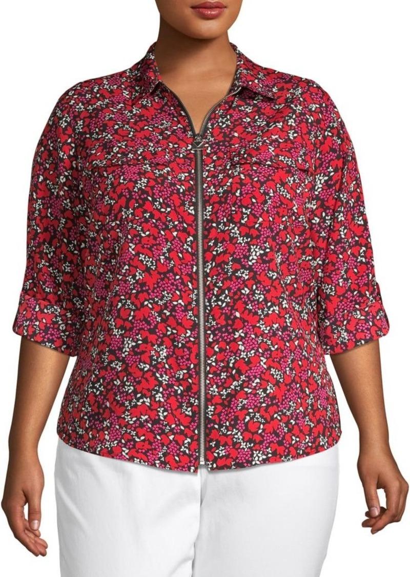 MICHAEL Michael Kors Plus Floral Zip-Front Top