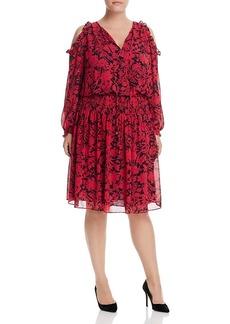 Michael Michael Kors Plus Garden Print Cold-Shoulder Dress