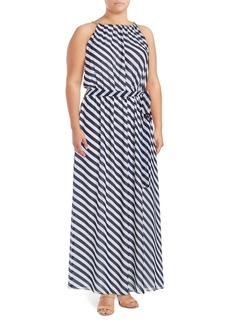 MICHAEL MICHAEL KORS Plus Halter Necklace Maxi Dress