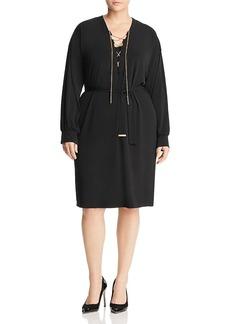 Michael Michael Kors Plus Lace-Up Chain Dress