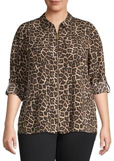 MICHAEL Michael Kors Plus Leopard-Print Zip-Front Blouse