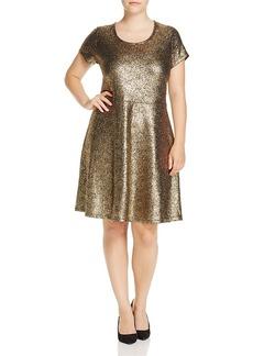 Michael Michael Kors Plus Metallic Fit-and-Flare Dress