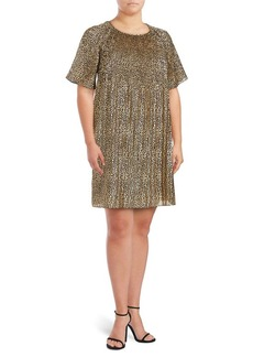 Michael Michael Kors Plus Metallic Floral Shift Dress