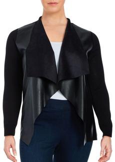 MICHAEL MICHAEL KORS Plus Plus Mixed Media Leatherette Cardigan