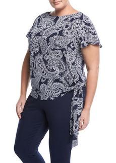 MICHAEL Michael Kors Plus Paisley-Print Side-Tie Top