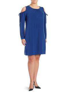 MICHAEL MICHAEL KORS Plus Pleated Cold-Shoulder Dress